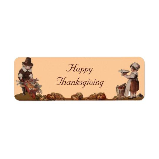 Vallfärda barnhappy thanksgiving returadress etikett