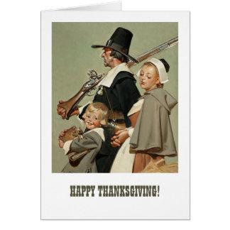 Vallfärda familjen. Thanksgivinghälsningkort Hälsningskort