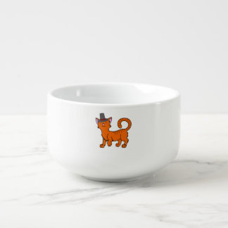Vallfärdar den orange katten för thanksgivingen kopp för soppa