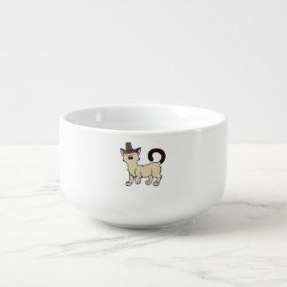 Vallfärdar den Siamese katten för thanksgivingen Kopp För Soppa