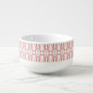 Vallmon skisserar, rött på den keramiska Kopp