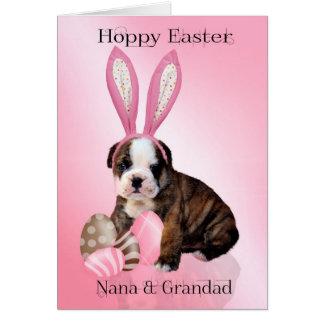 Valp för Nana & för Grandad gullig påskbulldogg Hälsningskort