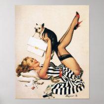 Valpälskareutvikningsflicka - Retro pinupkonst Affisch