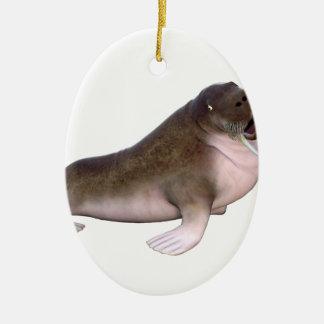 Valross med quizzical look julgransprydnad keramik
