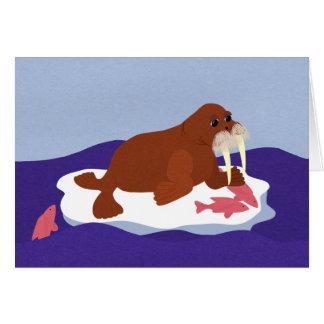 Valross på isberg med fisken hälsningskort