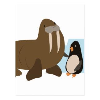 Valross & pingvin vykort