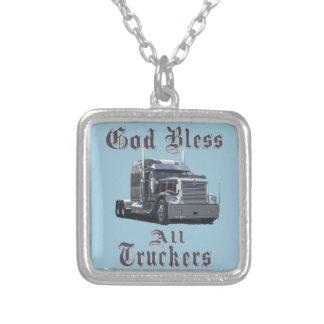 Välsigna dig alla lastbilsförare silverpläterat halsband