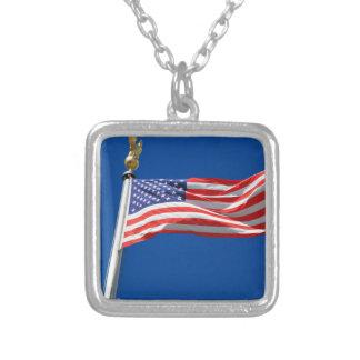 Välsigna dig Amerika, amerikanska flaggan, Halsband Med Fyrkantigt Hängsmycke