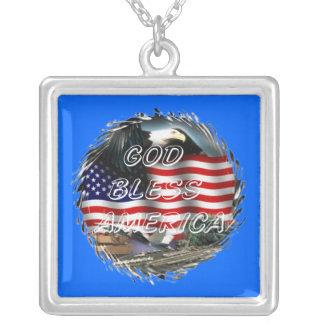 Välsigna dig Amerika Halsband Med Fyrkantigt Hängsmycke