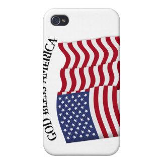 VÄLSIGNA DIG AMERIKA med US-flagga iPhone 4 Skal