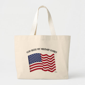 VÄLSIGNA DIG MIN MILITÄRA FAMILJ med US-flagga Tygkassar