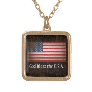 Välsigna dig USA amerikanska flaggan patriotiska Halsband Med Fyrkantigt Hängsmycke
