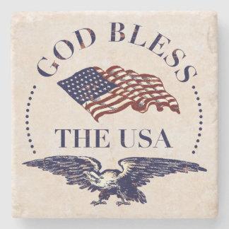 Välsigna dig USA flagga- och örnvintagen Stenunderlägg