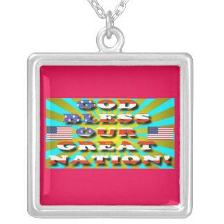 Välsigna dig vår underbara nation! halsband med fyrkantigt hängsmycke