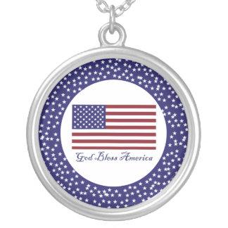 Välsigna digAmerika flagga Halsband Med Rund Hängsmycke