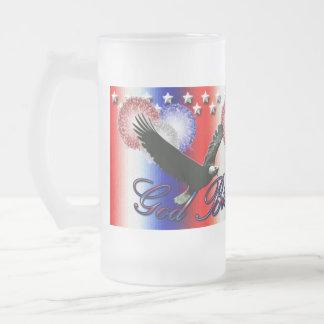 Välsigna digAmerika Fourth av den Juli muggen Frostat Ölglas