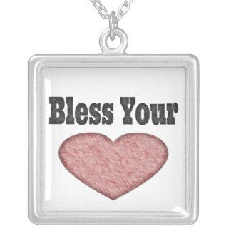 Välsigna din hjärta - sydligt ordstäv halsband med fyrkantigt hängsmycke