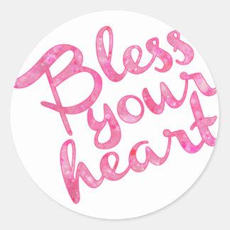 Välsigna din hjärtarosagnistra runt klistermärke