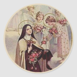 Välsignade änglarro för St. Therese Runt Klistermärke
