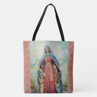 Välsignade jungfruliga Mary med barn Tygkasse