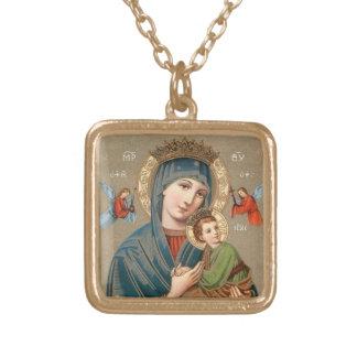 Välsignade jungfruliga Mary med halsbandet för Halsband Med Fyrkantigt Hängsmycke