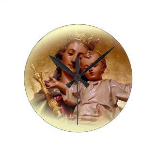 Välsignade jungfruliga Mary och spädbarn Jesus tar Rund Klocka