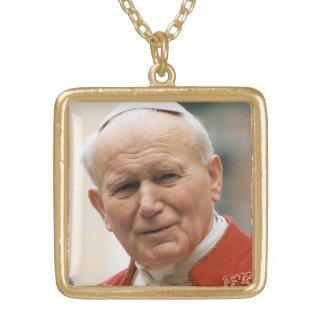 Välsignade Pope John Paul Ii Guldpläterat Halsband