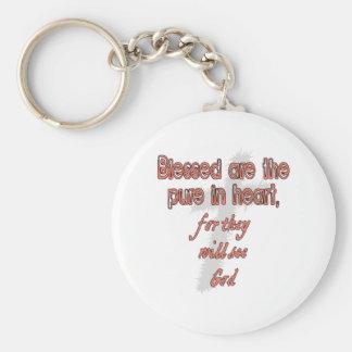 Välsignat är det rent i hjärta rund nyckelring
