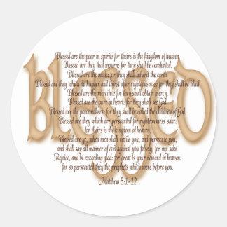 Välsignat - Beatitudes Runt Klistermärke