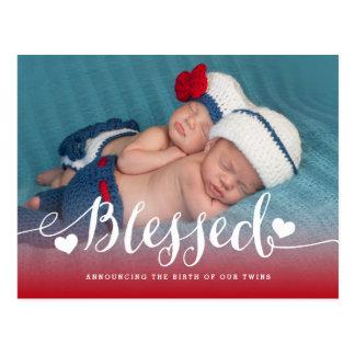Välsignat för fotofödelse för twillingar   vykort