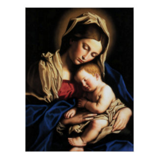 Välsignat jungfruligt Mary och spädbarnbarn Jesus Poster