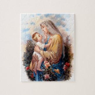 Välsignat jungfruligt Mary och spädbarnbarn Jesus Pussel