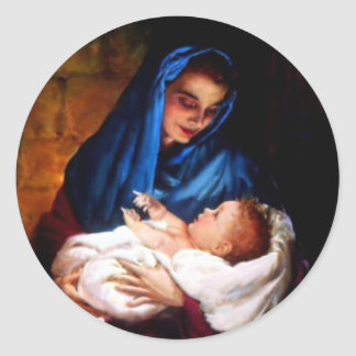 Välsignat jungfruligt Mary och spädbarnbarn Jesus Runt Klistermärke