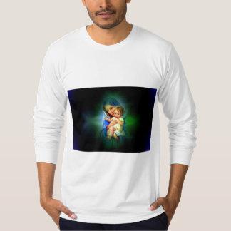 Välsignat jungfruligt Mary och spädbarnbarn Jesus T-shirt