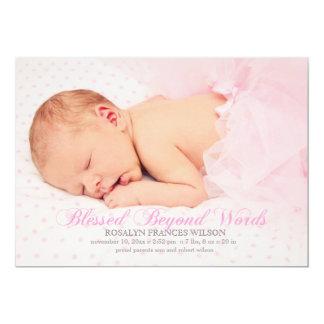 Välsignat med ett meddelande för flickafotofödelse 12,7 x 17,8 cm inbjudningskort