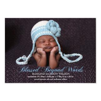 Välsignat med ett meddelande för pojkefotofödelse 12,7 x 17,8 cm inbjudningskort
