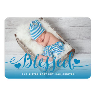 Välsignat meddelande för födelse för   baby med 12,7 x 17,8 cm inbjudningskort