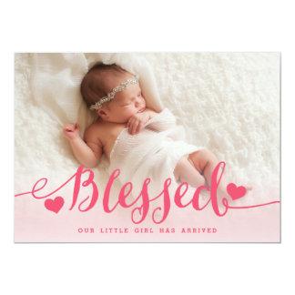 Välsignat   rosa meddelande för flickafotofödelse 12,7 x 17,8 cm inbjudningskort