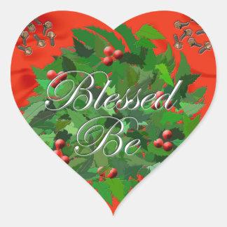 Välsignat var hjärtformat klistermärke