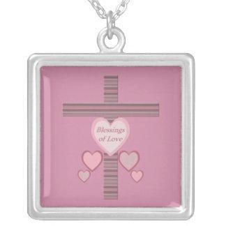 Välsignelser av kärlek silverpläterat halsband