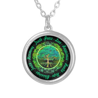 Välsignelser tro, harmonilivets träd i grönt halsband med rund hängsmycke
