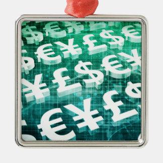 Valutautbyte som ett begrepp i 3d julgransprydnad metall