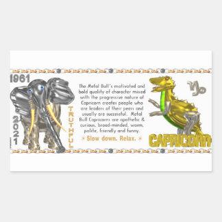 Valxart 1961 2021 MetalBull zodiacCapricorn Rektangulärt Klistermärke
