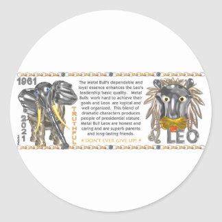 ValxArt 1961 kinesiska zodiacmetalltjur-Oxe födda Runt Klistermärke