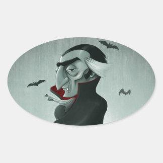 Vampyr halloween ovalt klistermärke