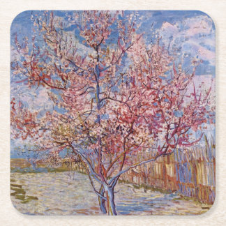 Van Gogh   blomma persikaträd   1888 Underlägg Papper Kvadrat