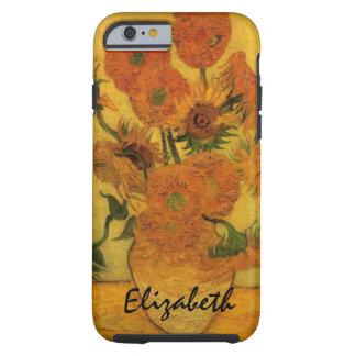 Van Gogh blommar konst, vas med 15 solrosor Tough iPhone 6 Skal