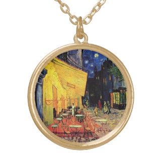 Van Gogh Cafeterrass på stället du Fora, konst Guldpläterat Halsband