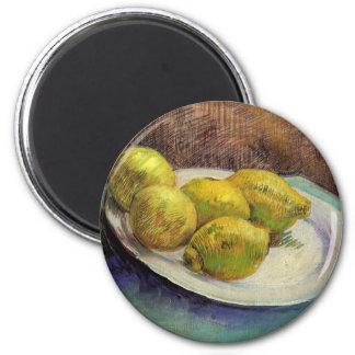Van Gogh citroner på en plätera, Magnet Rund 5.7 Cm