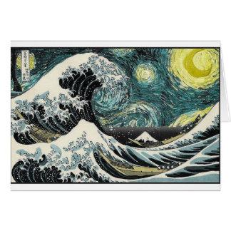 Van Gogh den Starry natten - Hokusai som Hälsningskort